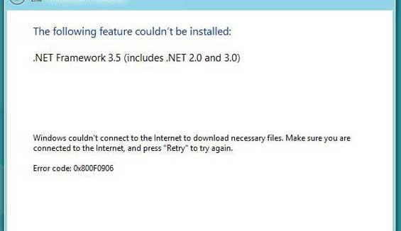 Hướng dẫn khắc phục lỗi error code 0x800F0906 trong .NET Framework 3.5